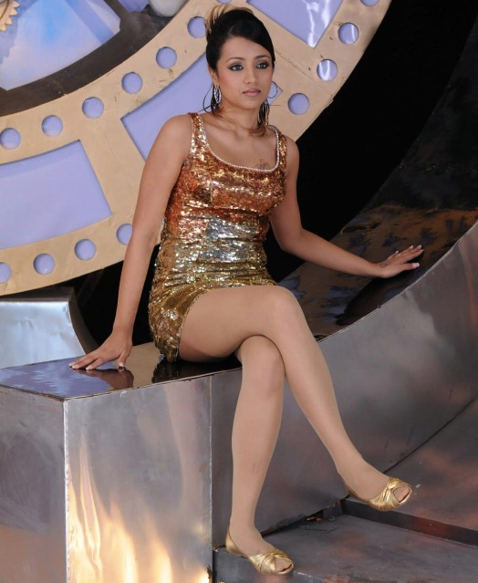 trisha hot thigh show shocking photos